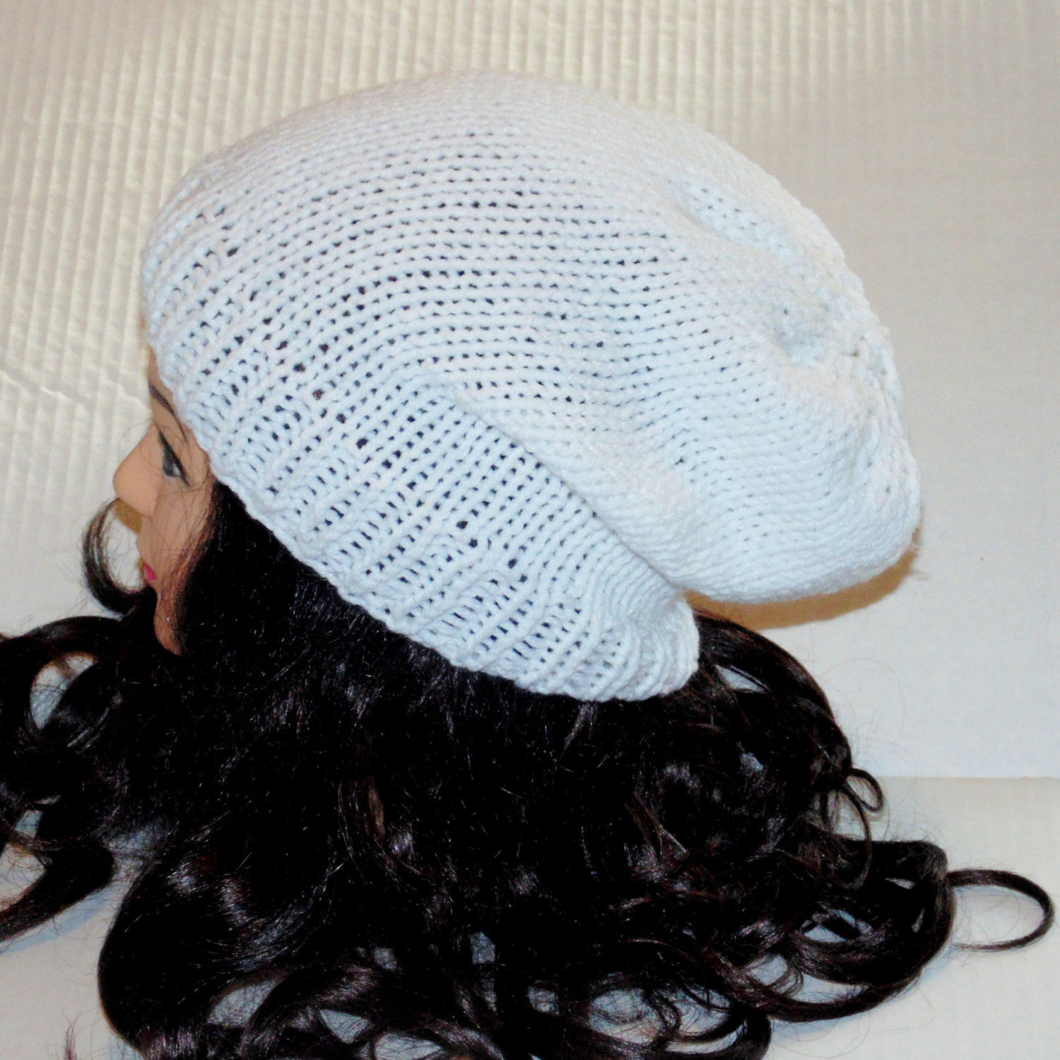 Knitted White Hat Womans Accessories Mens Accessories White Hat Knitted Slouchy Beanie