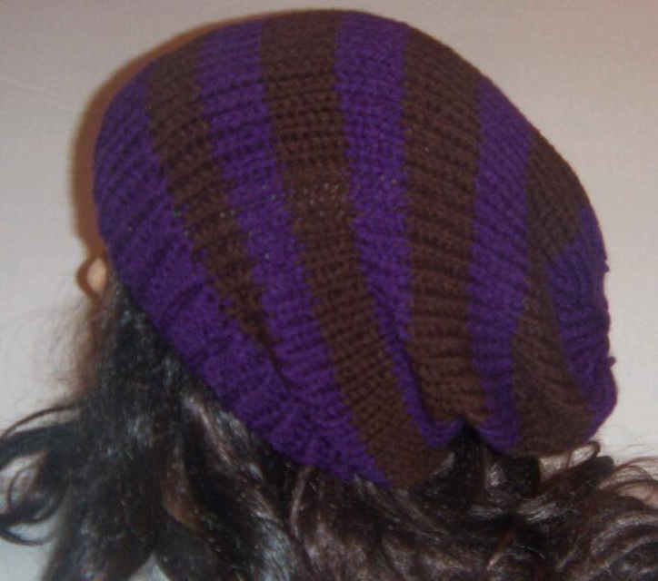 Purple And Brown Slouchy Knit Hat Womans Accessories